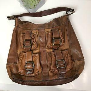 Vintage banana Republic 100%  leather tote pockets